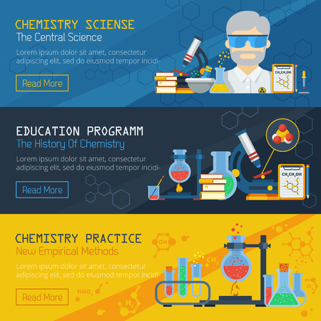 practical: Scientific and practical chemistry horizontal banners set with equipment for research and education flat vector illustration