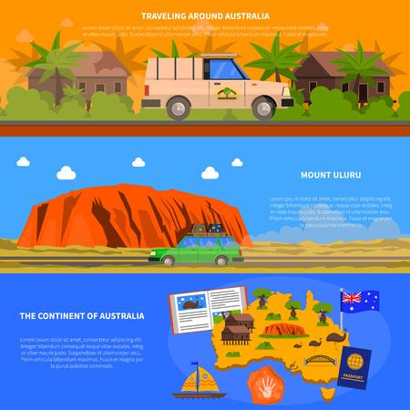 sydney australia: Australia horizontal banners set with continent and traveling symbols flat isolated vector illustration Illustration