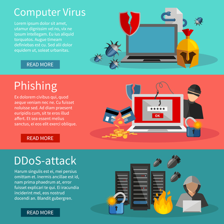 Horizontal  hacker banners set with icons of DDOS attacks on computer systems  phishing and computer viruses vector illustration