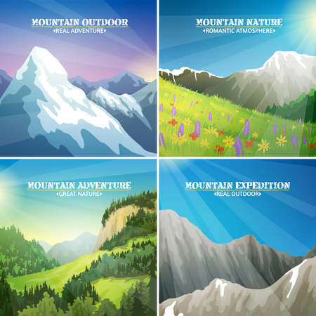 ridges: Mountains landscapes 4 flat icons square composition with alpine meadow flowers and icy peaks for travelers vector illustration Illustration