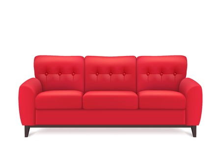 couch: Red leather luxury sofa for modern living room reception or lounge  single object realistic design vector illustration