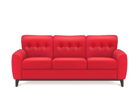recepcion: sofá de cuero rojo de lujo para la recepción moderna sala de estar o en el salón solo objeto de diseño realista ilustración vectorial Vectores