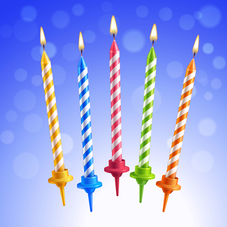 candle holder: Realistic 3d colorful birthday cake burning candles set on blue background vector illustration Illustration