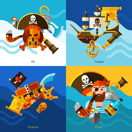 one eyed: Pirates 2x2 design concept set of one eyed pirate smoking pipe chest of gold sailboat with anchor and map on waves background vector illustration