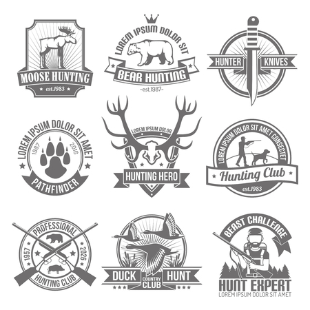 Black hunting emblems set with club ribbons and images hunter knife deer traces beast  antlers  aiming hunter with dog isolated vector illustration Çizim
