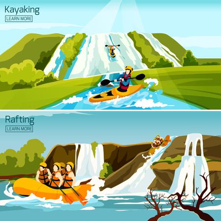 Dos composiciones de deportes acuáticos activos de colores con la gente ocupada en balsa canoa kayak plana ilustración vectorial