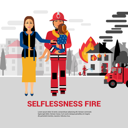 rescuing: Firefighter flat vector Illustration with burning house firetruck woman and fireman rescuing child