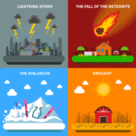 hurricane disaster: Natural disaster concept 4 flat icons square composition banner with meteorite and drought abstract isolated vector illustration