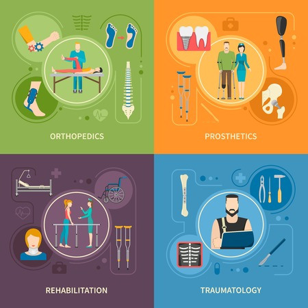 Flat 2x2 images set presenting orthopedics prosthetics rehabilitation and traumatology medical service vector illustration