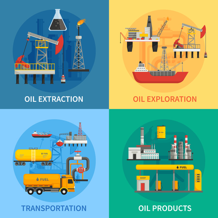 Flat 2x2 images presenting oil petrol industry oil exploration extraction transportation products vector illustration Illustration