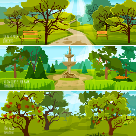 orchard: Garden landscape banners set of city park for relaxation orchard and park in versatile style flat compositions vector illustration Illustration