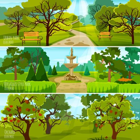 Garten Landschaft Banner Satz von Stadtpark zur Entspannung Obstgarten und Park in vielseitigen Stil flachen Kompositionen Vektor-Illustration Vektorgrafik