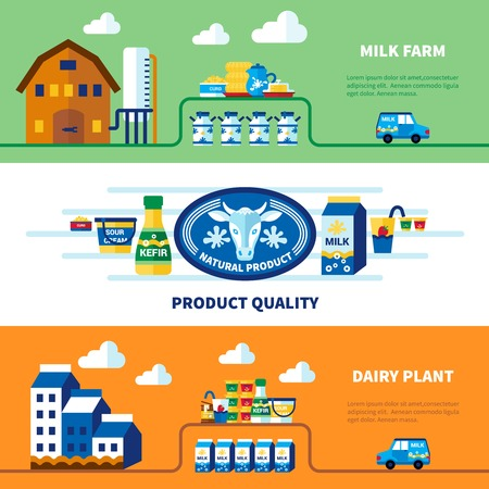 milk cow: Milk farm and dairy plant banners with advertising of product quality isolated vector illustration