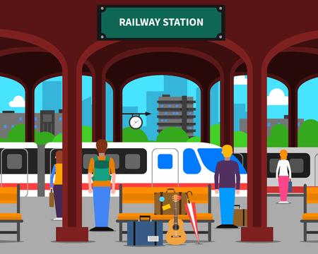 estación de tren con locomotora y pasajeros en la ilustración del vector de la plataforma plana