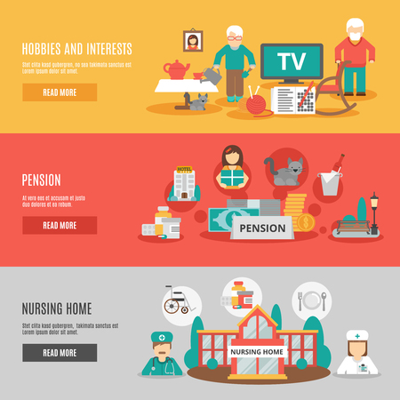 nurse home: Old people hobbies and interests pension and nursing home horizontal banners set flat vector illustration Illustration