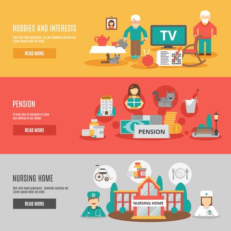 old nursing: Old people hobbies and interests pension and nursing home horizontal banners set flat vector illustration Illustration