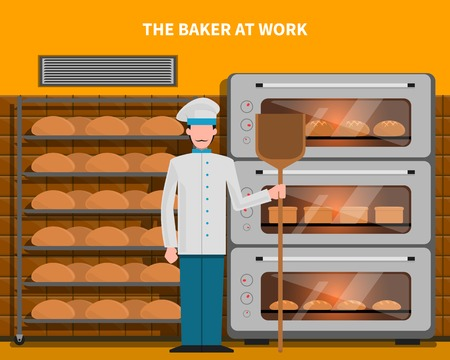bread maker: Baker at work concept with bread oven flat vector illustration