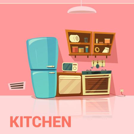 Cucina design retrò con frigorifero forno a microonde e fornelli fumetto illustrazione vettoriale Vettoriali