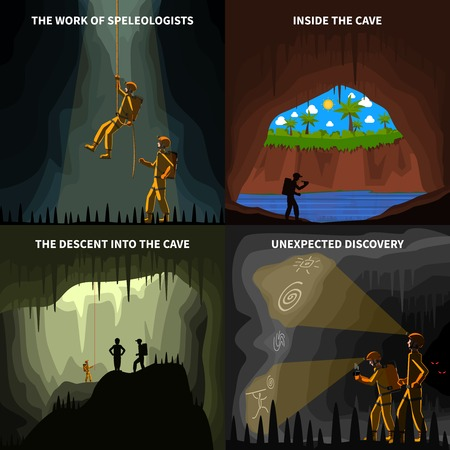 cueva: Espeleólogos descenso a la cueva subterránea descubrimiento 4 iconos planos cuadrados de composición abstracta bandera ilustración vectorial