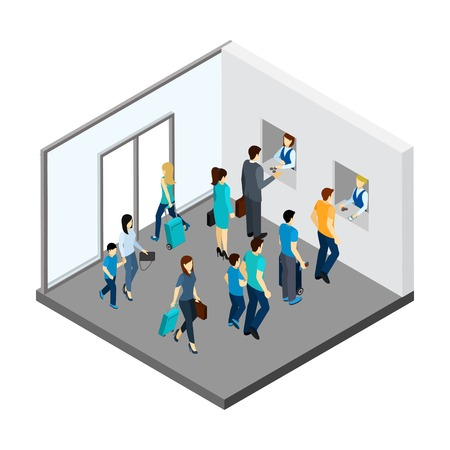 clothes rail: Underground people with luggage and queue for tickets isometric vector illustration