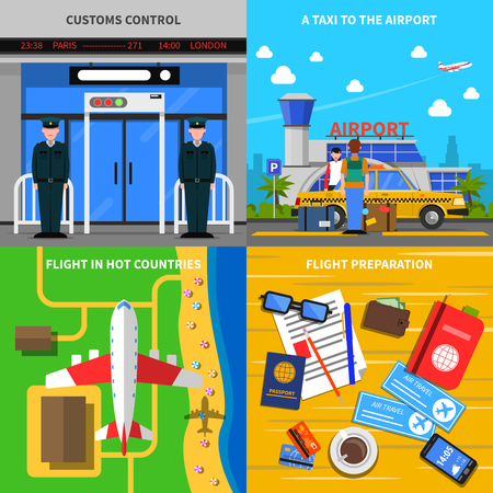 service entrance: Airport departure concept 4 flat icons square composition with travel documents and custom control abstract isolated vector illustration Illustration
