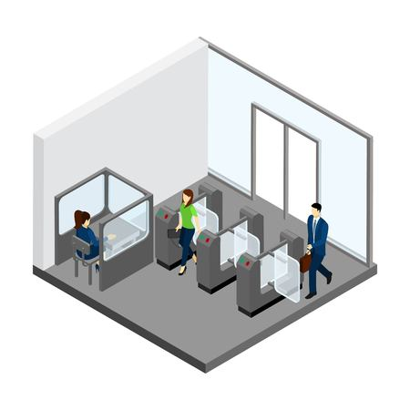 clothes rail: Underground entrance with people turnstiles and tickets isometric vector illustration