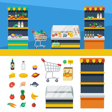 shelf: Two flat horizontal supermarket banners with store shelves shopping cart and natural food icons vector illustration