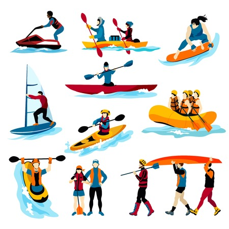 Extreme water sports flat color icons set with people in rafting surfing canoeing kayaking windsurfing isolated vector illustration Ilustração