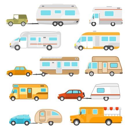icone di veicoli ricreativi impostato con diversi tipi di camper piatto isolati illustrazione vettoriale
