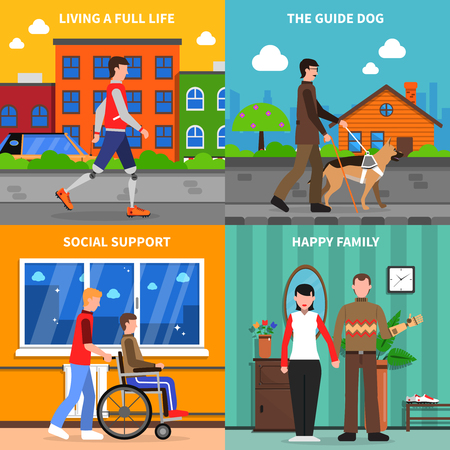 blind dog: Disabled handicapped people living full life with social support 4 flat icons square composition abstract isolated vector illustration