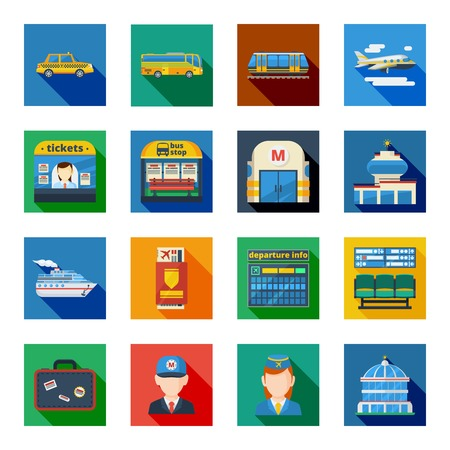 passenger transportation: Passenger transportation flat square icons set with public transport and employees of metro and air terminal isolated vector illustration