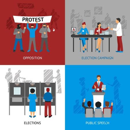 Iconos del concepto de la política establecidos con las elecciones y los símbolos de la oposición ilustración del vector aislado plana