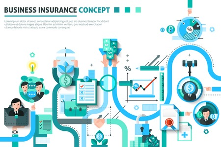 Business insurance concept with money and risk symbols flat vector illustration Illustration