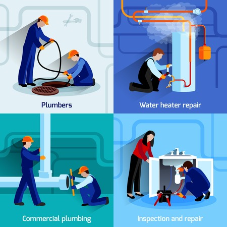 water heater: Plumber design concept set with pipes repair flat icons set isolated vector illustration