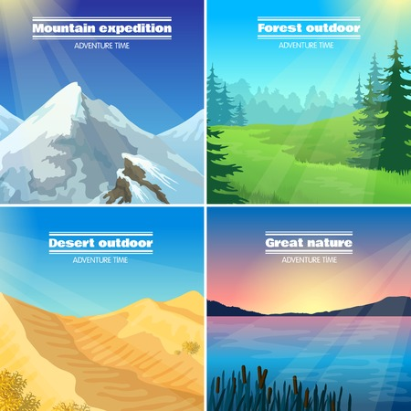 expeditions: Great nature camping 4 flat pictograms collection with forest desert and mountains expeditions abstract isolated vector illustration