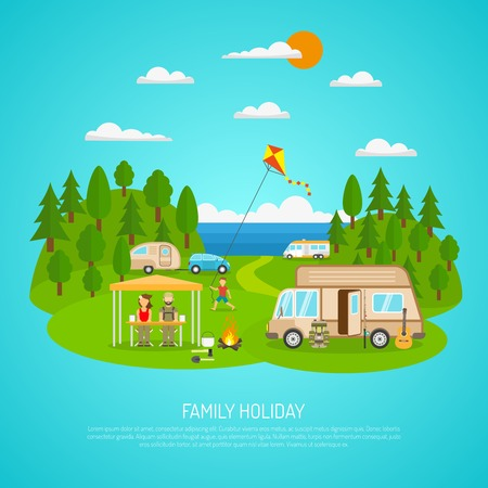 travelling: Family camping by the sea with motorhomes forest and fires flat vector illustration Illustration