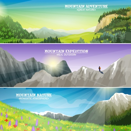 mountain landscape: High altitude flowers on mountain slopes and ice peaks landscape 3 flat horizontal banners set abstract illustration vector