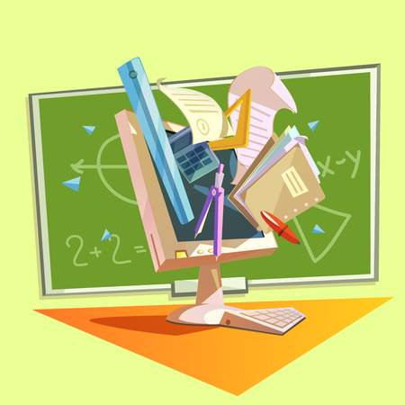 education concept: Education concept with school studying supplies in retro style vector illustration Illustration