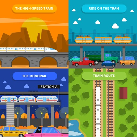 routes: Train concept icons set with high-speed train tram and monorail flat isolated vector illustration