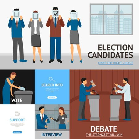 candidates: Political election candidates promises debates and interview information online 4 flat banners composition abstract flat vector illustration