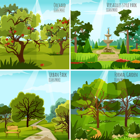 orchard: Garden landscape 2x2 design concept set of orchard urban park and versatile garden with fountain and alleys flat vector illustration