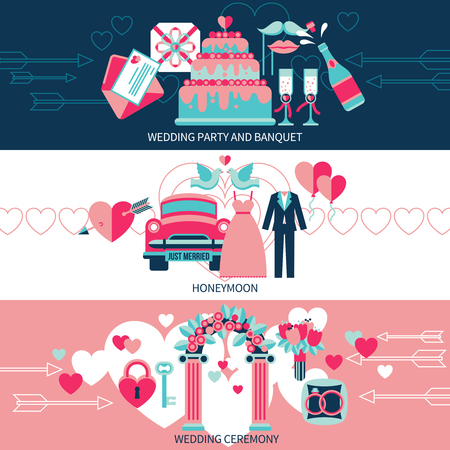 wedding ceremony: Horizontal banners set presenting wedding party and banquet honeymoon for just married and ceremony flat vector illustration