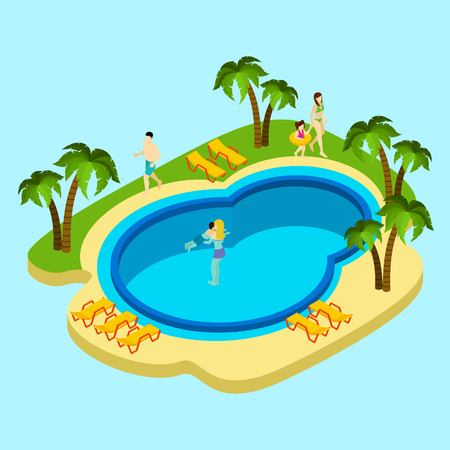 People at water park with swimming pool and palms on blue background isometric vector illustration