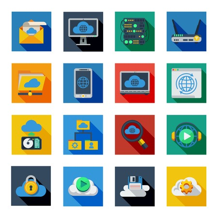 syncing: Cloud service icons in isolated colorful squares with smartphone server rack laptop padlock symbols flat shadow vector illustration Illustration