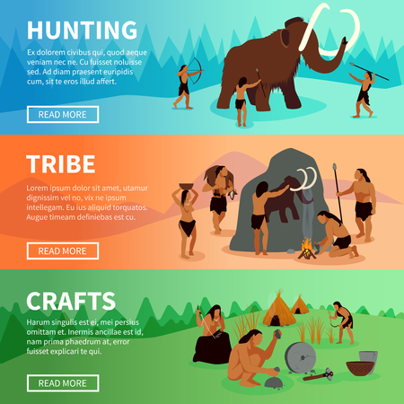 Prehistoric stone age caveman banners with mammoth hunting life of tribe and primitive crafts flat vector illustration