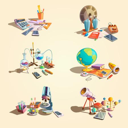 Science retro-concept set met cartoon onderwijs objecten geïsoleerd vector illustratie Vector Illustratie