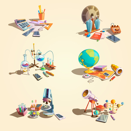 science icons: Science retro concept set with cartoon education objects isolated vector illustration