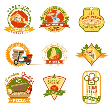 logo de comida: emblemas de pizza establecidos con ingredientes frescos y de primera calidad símbolos de dibujos animados ilustración vectorial Vectores