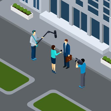 city live: Journalist reporter taking live interview in the city center  with professional operator isometric banner abstract vector illustration Illustration