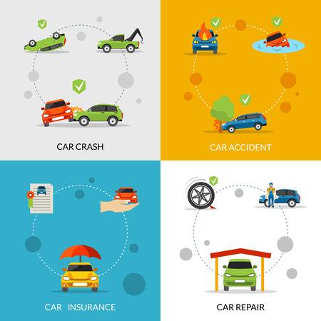 concept d'assurance automobile mis en collision et de réparation des icônes plates isolé illustration vectorielle